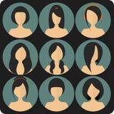 Plana kvinnors uppsättning för symbol för glamourfrisyrer blå vektor illustrationer