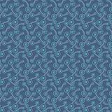 Plana ljusa abstrakta biologiska beståndsdelar Enkelt hand-dragit, prickigt retro mörkt - blå prydnad för textilen, tryck, tapet, royaltyfri illustrationer