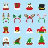 Plana lock för karneval för symbolsuppsättningjul Jultomte hatt stock illustrationer
