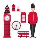 Plana london för garneringdesign designillustrationlondon horisont dig Röda london i modern stil på vit bakgrund stock illustrationer