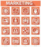 Plana marknadsföringssymboler, orange version Royaltyfria Foton