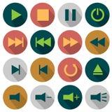 Plana massmediasymboler Arkivfoton