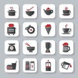 Plana matlagning- och matsymboler för vit stock illustrationer