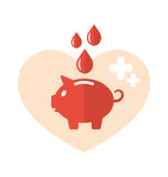 Plana medicinska symboler för begrepp av spargrisen som bloddonation Royaltyfri Bild