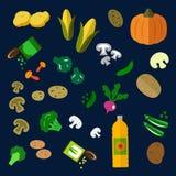 Plana nya och på burk grönsaksymboler Arkivfoton