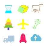 Plana och färgrika rengöringsduksymboler för vektoruppsättning Arkivfoton