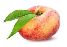 Plana persikor som isoleras på viten Arkivbild