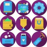 Plana purpurfärgade symboler för handgjorda gåvor Royaltyfri Bild