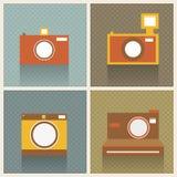 Plana Retro fotokameror Arkivbild