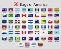 Plana runda flaggor av Amerika - full vektor CollectionVector royaltyfri illustrationer