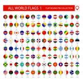 Plana runda Pin Icons allra världsflaggor Del 1 stock illustrationer
