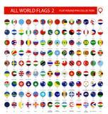 Plana runda Pin Icons allra världsflaggor Del 2 royaltyfri illustrationer