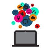 Plana sociala massmediasymboler med datorapparatneon färgar Royaltyfri Bild