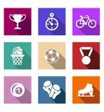Plana sportsliga rengöringsduksymboler Fotografering för Bildbyråer