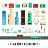 Plana stadsbeståndsdelar på vit bakgrund royaltyfri illustrationer