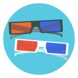 Plana svartvita exponeringsglas för bio 3d exponeringsglas för bio 3d med den röda och blåa linsen och svartvita ramar Royaltyfri Fotografi
