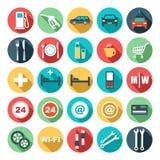 Plana symboler av bensinstationen Arkivbild
