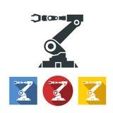 Plana symboler av det robotic handmaskinhjälpmedlet på den industriella tillverkningfabriken Arkivfoto