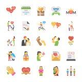 Plana symboler av förälderdagen Royaltyfri Bild