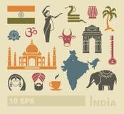 Plana symboler av Indien royaltyfri illustrationer