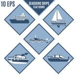 Plana symboler av marin- skepp i lila färg stock illustrationer