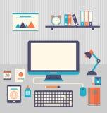 Plana symboler av moderiktiga dagliga objekt, kontorstillförsel och businen Arkivfoton
