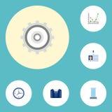 Plana symboler dräkt, diagram, kugghjul och andra vektorbeståndsdelar Uppsättningen av symboler för affärslägenhetsymboler inklud Royaltyfria Bilder