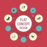 Plana symboler dumskalle, reptil, häst och andra vektorbeståndsdelar Uppsättningen av vid liv plana symbolssymboler inkluderar oc stock illustrationer