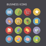 Plana symboler för affär och finans Royaltyfri Fotografi