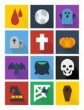 Plana symboler för allhelgonaafton Royaltyfria Foton