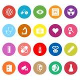 Plana symboler för allmänt sjukhus på vit bakgrund Arkivfoto