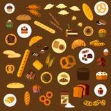Plana symboler för bageri, för bakelse och för konfekt vektor illustrationer