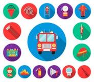 Plana symboler för brandstation i uppsättningsamlingen för design Brandmän och utrustningvektorsymbolet lagerför rengöringsdukill vektor illustrationer
