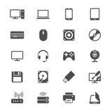 Plana symboler för dator Arkivbild