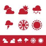 Plana symboler för designvektorväder planlägger beståndsdelar på den vita bakgrunden royaltyfri illustrationer