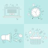 Plana symboler för e-kommers affär Arkivbilder