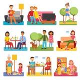 Plana symboler för familj stock illustrationer
