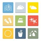 Plana symboler för ferie för rengöringsduk stock illustrationer