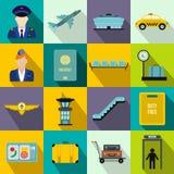 Plana symboler för flygplats stock illustrationer
