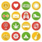 Plana symboler för hippie Arkivfoton