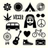 Plana symboler för hippie Arkivbilder