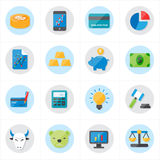 Plana symboler för illustration för finanssymbols- och affärssymbolsvektor Royaltyfri Bild