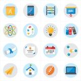 Plana symboler för illustration för skolasymbols- och utbildningssymbolsvektor Arkivbild