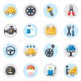 Plana symboler för illustration för vektor för bilservicesymboler Royaltyfri Bild