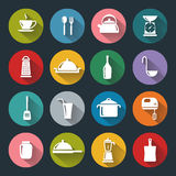 Plana symboler för kök Arkivfoton