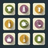 Plana symboler för kök Arkivbilder