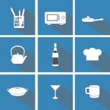 Plana symboler för kök stock illustrationer