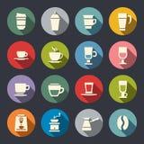 Plana symboler för kaffe. Vektorillustration royaltyfri illustrationer