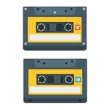 Plana symboler för kassettband också vektor för coreldrawillustration Arkivfoton