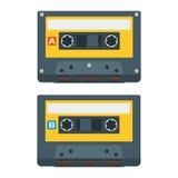 Plana symboler för kassettband också vektor för coreldrawillustration Arkivbild